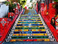 The stairway Selaron - 10 Fun Things to do in Rio de Janeiro that Only Locals Know Visit Rio, National Geographic, Mosaic Artwork, Brazil Travel, Covent Garden, Stairways, Strand, South America, Night Life