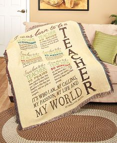 "Give your teacher a gift that highlights their importance and brightens their day. Every piece features a design by Marla Rae and is accented with ""teacher"" in huge letters and uplifting words about this important profession. Our exclusive polyester and"