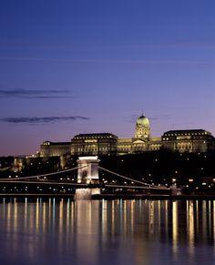 Buda Castle & Széchenyi Chain Bridge over The Danube River ~ Budapest, Hungary