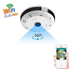 360 Degree Panoramic WiFi Camera HD Security Camera Baby Monitor Home Camera Pet Monitor Two Way Audio Hidden Camera Night Vision Motion Detection Remote Viewing iOS Android Home Security Alarm, Home Security Tips, Wireless Home Security Systems, Security Cameras For Home, House Security, Home Camera, Spy Camera, Mini Camera, Household Tips