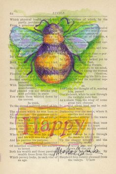 Items similar to Watercolor Inspirational Art, BEE HAPPY, on Book Page on Etsy