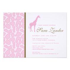Giraffe Baby Shower Invitation - Girl