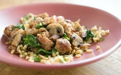 Farro and Herb Pilaf with Sausage, Mushrooms and Spinach // The combination of sausage, mushrooms and kale is a knock out! The farro adds great texture and is loaded with nutrition.
