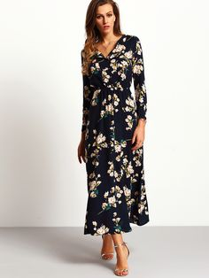 Online shopping for Navy Long Sleeve Floral Maxi Dress from a great selection of women's fashion clothing & more at MakeMeChic.COM.