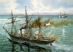The Last Battle - USS Kearsarge sank the CSS Alabama off Cherbourg, France.