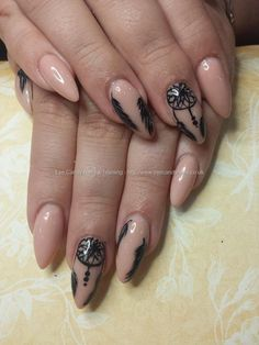 Nude acrylic with freehand dream catcher and feather nail art #NailArt #Nails Taken at:11.09.2015 20:49:03 Uploaded at:14.09.2015 21:37:29 Technician:Elaine Moore