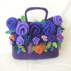 Felted Flower Bag Crochet Pattern Tutorial pdf Crochet by GraceG2, $27.75