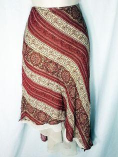 Lane Bryant Skirt 18 20 Asymmetrical Lined Silk Skirt Boho Plus Floral Paisley #LaneBryant #Asymmetrical