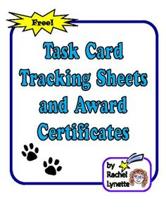 Task Card Tracking Sheets and Award Certificates - FREE
