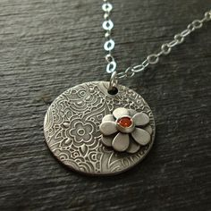 Buttercup Necklace - Hyacinth Stone-jewelry, necklace, metalwork, mod, modern, urban, whimsical, whimsy, paisley, texture, patina, oxidized, gray, grey, orange, hyacinth, fall, flower, garden, wild flowers, nature, botanical, flowers, tangerine, pumpkin, fine silver, metal clay, pmc, art clay silver, sterling, silver, chain, stone, recycled, reclaimed, metal