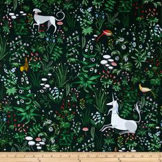 The Lovely Hunt Unicorn Mural Green from @fabricdotcom  Designed by Lizzy House for Andover Fabrics, this cotton print fabric is perfect for quilting, apparel and home decor accents. Colors include various shades of green, black, red, blue, pink, peach, gold, white and grey.