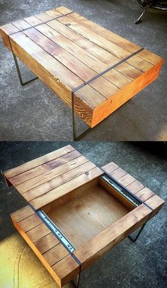 Mandelin Wood/Metal Coffee Table Natural/ White - Project 40 Creative DIY Coffee Table Ideas You Can Build Yourself - Coffee Table - Ideas of Coffee Table - Coffee table enhancing concepts can turn that messy tabletop into a layout feature to be proud Unique Coffee Table, Coffee Table Styling, Diy Coffee Table, Diy Wood Table, Coffee Table Plans, Creative Coffee, Wood Tables, Diy Wooden Desk, Diy Wood Box