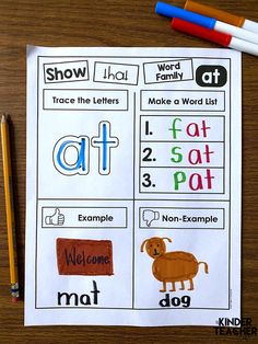 Word Family Worksheets - make a list of word family words. Give an example and non-example. Kindergarten First Week, Kindergarten Special Education, Kindergarten Curriculum, Special Education Teacher, Kindergarten Graduation, Kindergarten Writing, Life Skills Class, Cvc Word Families, Family Worksheet