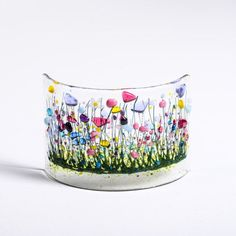 Handcrafted Fused Glass Art Wild Garden Curve