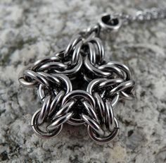 Chainmaille Star Pendant  Stainless Steel  with by CreationsbyUli