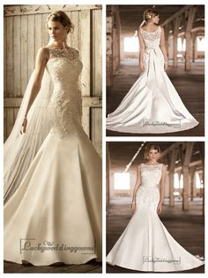 STUNNING LACE ILLUSION BATEAU NECKLINE TRUMPET VINTAGE WEDDING DRESSES
