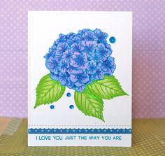 This large bloom will be a gorgeous addition to your paper crafting projects! The hydrangea can be stamped in one, two, three, or four steps, and the sentiments are presented in a trendy calligraphic
