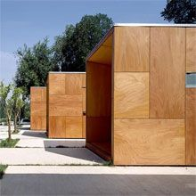 Parklex Facade, Alhambra Information points by Parklex - Composites Guera siding idea for shed Shed Cladding, Timber Cladding, Wood Architecture, Architecture Details, Fire Rated Doors, Wooden Facade, Interior Design Living Room, Interior Decorating, Prefab