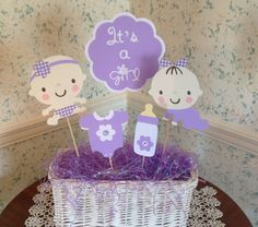 Baby Shower Centerpiece- Set of 5 Picks- Baby Shower Gift- Its a Girl- Purple, Lavender- Baby Girl- Baby Shower Decoration