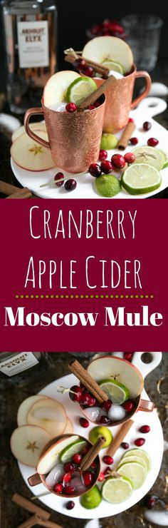 Delicious any time of year, this Cranberry Apple Cider Moscow Mule is light, crisp and refreshing; perfect for a night in with friends or a large family gathering. Honey Glazed Ham, Banana Split Dessert, Dark Chocolate Cakes, Baked Banana, Holiday Drinks, Christmas Cocktails, Thanksgiving Drinks, Christmas Snacks, Thanksgiving Appetizers