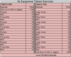 No Equipment Tabata Workout www.fiterature.com