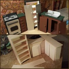 DIY Made a barbie kitchen out of wooden craft store parts.