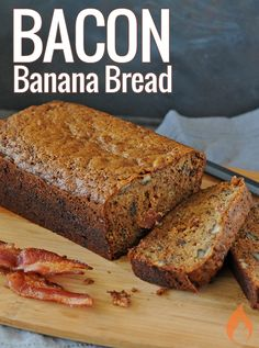Bacon makes everything better, especially this moist bacon banana bread baked with a touch of cinnamon and peanut butter. Bacon Recipes, Brunch Recipes, Dessert Recipes, Desserts, Pellet Grill Recipes, Grilling Recipes, Grilled Bread, Dessert Bread, Bread Baking