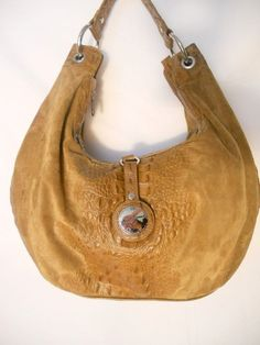 9d4b7afcf16a Junior Drake Large Roomy Hobo Purse Suede Leather Croc Nickle Well Made Bag