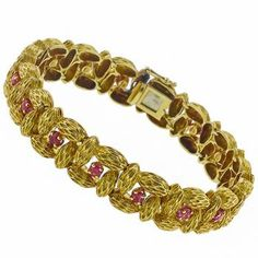 1960s 1.30ct Round Cut Ruby 18k Yellow Gold Seed Bracelet - See more at: http://www.newyorkestatejewelry.com/bracelets/vintage-1.30ct-ruby-gold-bracelet/24933/6/item#sthash.VIo24Rtv.dpuf