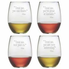 """Showcasing a hand-etched typographic motif, this essential stemless wine glass is perfect for offering a favorite vintage at your next soiree or enjoying a crisp chardonnay with dinner.  Product: Set of 4 stemless wine glasses Construction Material: GlassColor: ClearFeatures:  Hand-etched typographic motif21 Ounce capacity eachDimensions: 4.6"""" H x 3"""" Diameter"""