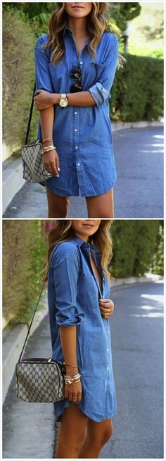 Long Sleeve Button Down Midi Denim Shirt Dress Source by Dress Outfits, Casual Outfits, Cute Outfits, Fashion Dresses, Looks Camisa Jeans, Jeans Dress, Denim Shirt Dress Outfit, Long Shirt Outfits, Jean Shirt Dress