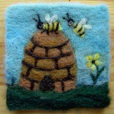 017 Honey Bee  Thyme Tile Needle Felting Pattern Kit by FiberThyme, $12.50