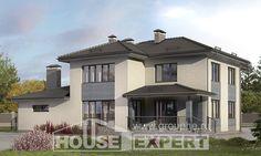 340-005-П Проект двухэтажного дома и гаражом, красивый коттедж из газобетона