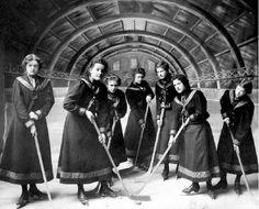 Vintage: Rossland Women's Hockey Team - Early 1900s