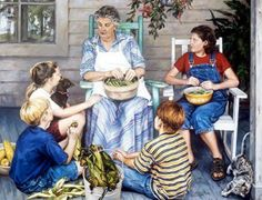 Grandma would by a big bunch of green beans and we would help string and snap them. She would cook them with bacon, really good.