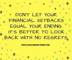 Dont let your financial set backs equal your ending. v2