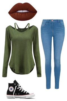 """Untitled #15"" by halle2273 ❤ liked on Polyvore featuring George, Converse and Lime Crime"