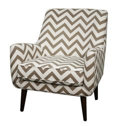Zoe Fabric Arm Chair in Chevron Ecru Pattern. Constructed in Solid Birch Wood with Brown Leg - NPD