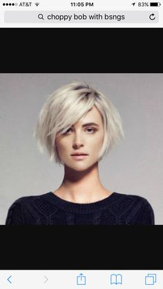 Idée Tendance Coupe & Coiffure Femme 2018 : Description Nice chin length bob with those long side swept bangs that I can never hang in long enough to grow! Love the platinum color. Short Side Bangs, Short Hair Cuts, Short Hair Styles, Straight Bangs, Pixie Cuts, Long Bangs, Straight Fringes, Long Fringes, Short Pixie