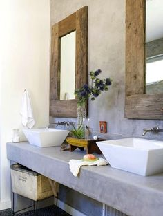 #Natural bathroom #design organic wood framed mirrors. #Interior
