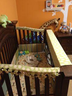 No sew, DIY Crib rail covers, using fleece!