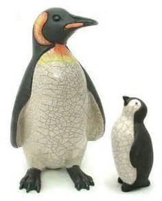 ceramic raku fired handmade baby penguin white by ...