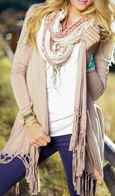 Love this Shade of Pink! Stylish Pale Pink Collarless Long Sleeve Solid Color Fringe Design Cardigan For Women #Stylish #Pale #Pink #Fringe #sweater #Cardigan #Layered #Fashion #Styling #Ideas