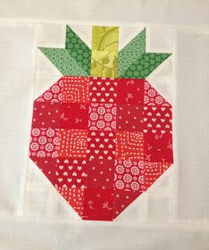 Skyberries Handmade: Strawberry Block - A Tutorial * cute and so easy to make with solid blocks and half square triangles