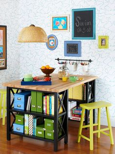 What it is: A bar-height table with built-in organization made from bookcases and a prefab wood or laminate countertop. How to make it: For a 36-inch-tall table, use 34-inch bookcases and a 2-inch-thick countertop. (Edge-glued wood tops are available in different sizes at big box stores.) The countertop should be the same width as the bookcase. Long countertops will need a center support. Attach the counter to the bookcases using L brackets.