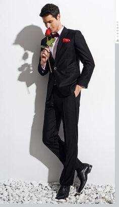 2015 New Fashion Trend Custom Made Black One Button Men's Suit Bridal Groom Suits Tuxedo Jacket+Pants+BowTie Handsome Men's Suit Online with $67.02/Piece on Weddingpalace's Store | DHgate.com