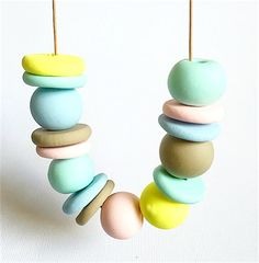 Pastel Polymer Clay Necklace