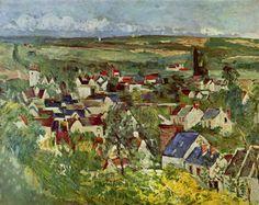View of Auvers, 1873 - Paul Cezanne Manet, Paul Cezanne Paintings, Art Database, Art Institute Of Chicago, Sculpture, Objet D'art, Cubism, Portrait, Landscape Paintings