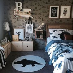 Classic Dino Wallpaper - Grey – Sian Zeng Source by clothing Dinosaur Kids Room, Boys Dinosaur Bedroom, Dinosaur Room Decor, Boy Toddler Bedroom, Big Boy Bedrooms, Boys Bedroom Decor, Toddler Rooms, Baby Boy Rooms, Bedroom Themes