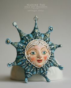 """Little Star"" by Nadine Pau. Christmas ornaments. Papier mache, oil patina varnish. Sold #christmasornaments #nadinepau"